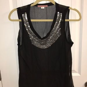 Sheer Tank with Silver Design